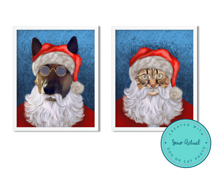 Christmas Santa Pet Art Print