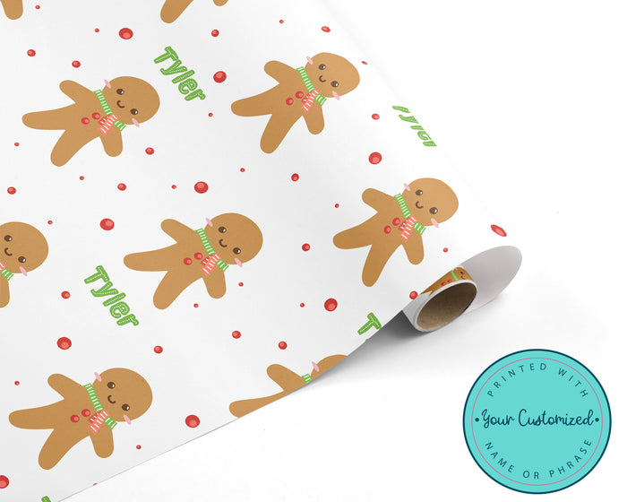 Gingerbread Man Personalized WRAPPING PAPER