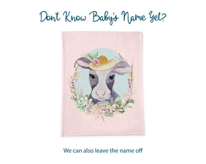 Girl Cow Baby Name Blanket