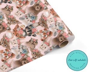 Pink Floral Woodland Animals Wrapping Paper