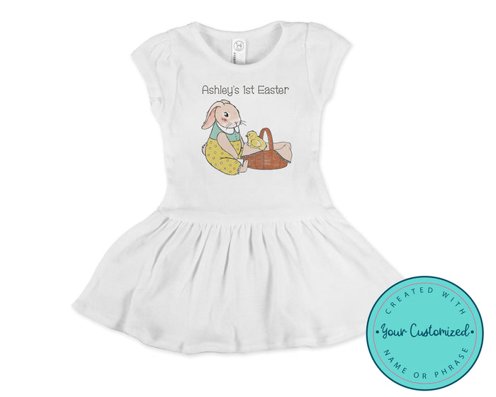 Personalized Vintage Style Girl's Easter Dress with Bunny and Chick
