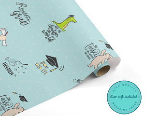 Bunny & Crocodile Graduation Wrapping Paper
