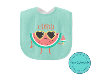 Personalized Green Watermelon Baby Bib