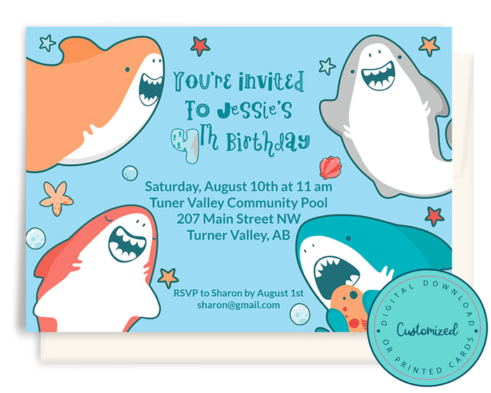 Happy Shark Birthday Invitation