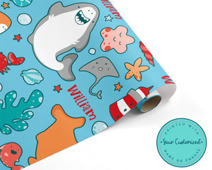 Personalized Happy Shark Birthday Wrapping Paper