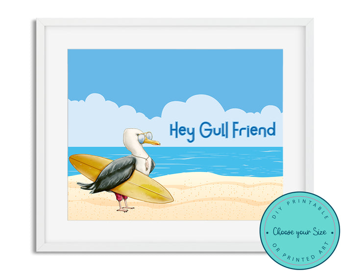 "Sea Gull ""Hey Gull Friend"" Beach Nautical Art"