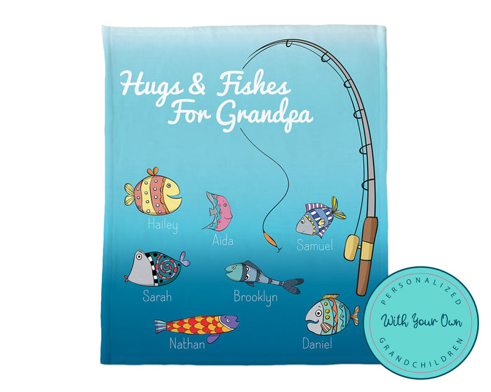 Personalized Grandpa Fishing Blanket