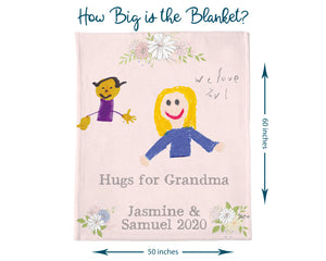 Pink Floral Personalized Hug Blanket for Grandma