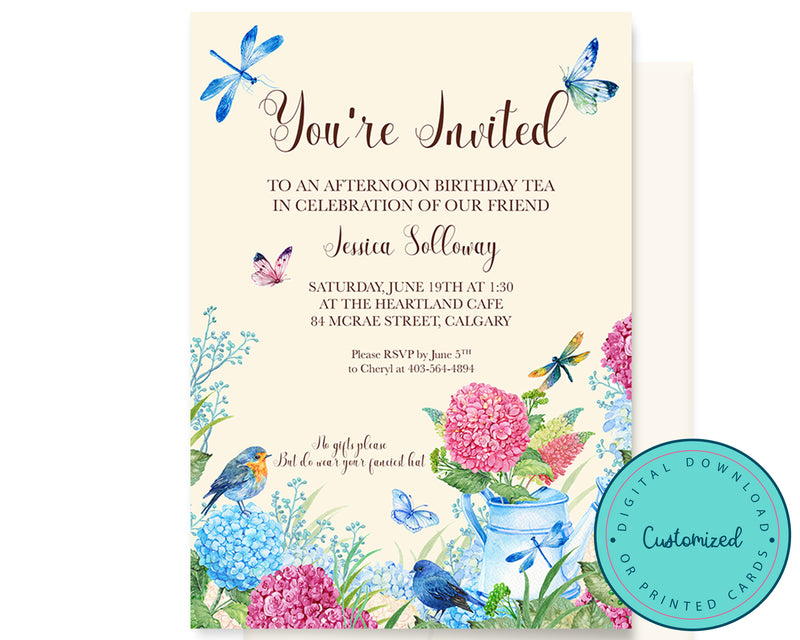 Spring Hydrangea Tea Party Invitation