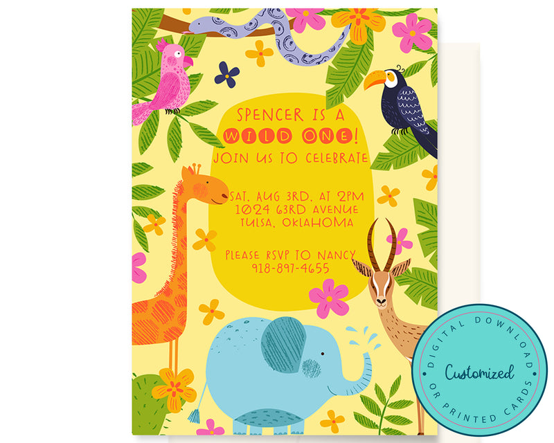 Wild One Jungle First Birthday Invitation