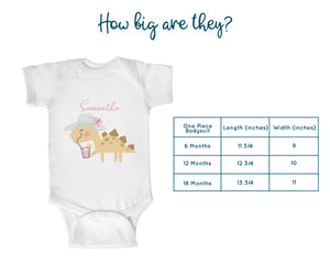 Personalized Summer Dinosaur Lemonade Baby One-Piece Bodysuit