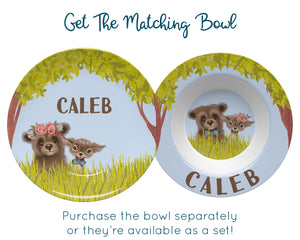 Personalized Floral Bear and Deer Plate