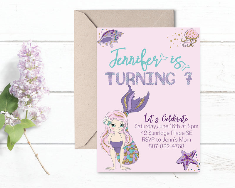 Sparkly Mermaid Birthday Invitation