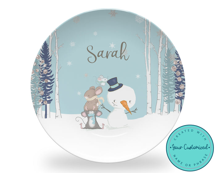 Personalized Christmas Mice and Snowman Plate