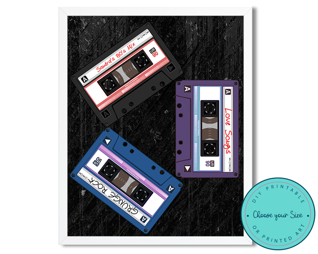 Personalized Retro Cassette Mix Tape Wall Art
