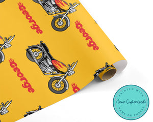 Flaming Motorcycle Wrapping Paper