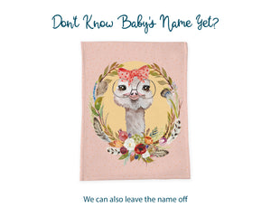Vintage Style Ostrich Baby Name Blanket