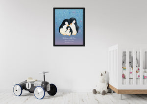 Nursery with toy car, unicorn and crib. Black framed picture of penguin family on wall.