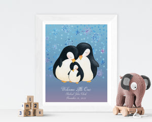 White framed picture of penguin family with toy elephant and stacked toy blocks.