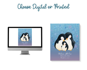 Text reads: Choose digital or printed. Penguin family art picture is shown on computer screen or printed out.
