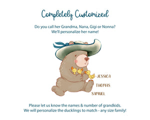 Personalized Bear & Duckling Blanket with Grandkids Names