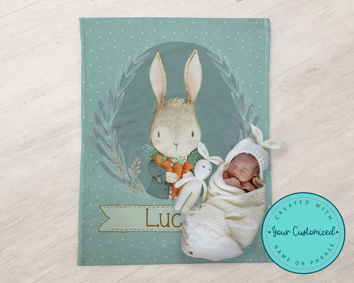 Vintage Style Bunny Baby Name Blanket