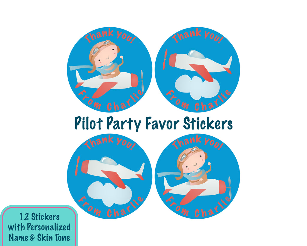 Personalized Little Pilot Thank You Stickers