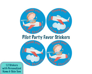 Personalized Little Pilot Party Favor Stickers