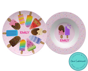 Pink Popsicle Plate & Bowl Set