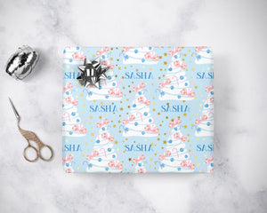 Baby Blue and Pink Bow Christmas Wrapping Paper