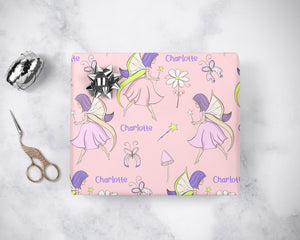 Personalized Pink & Purple Fairy Wrapping Paper