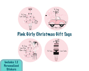 Pink Girly Christmas Gift Tag Stickers