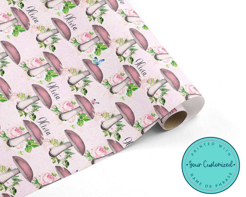 Personalized Pink Woodland Mushroom Wrapping Paper
