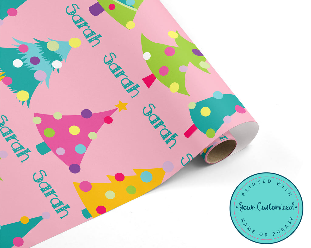Pink Christmas Tree Wrapping Paper