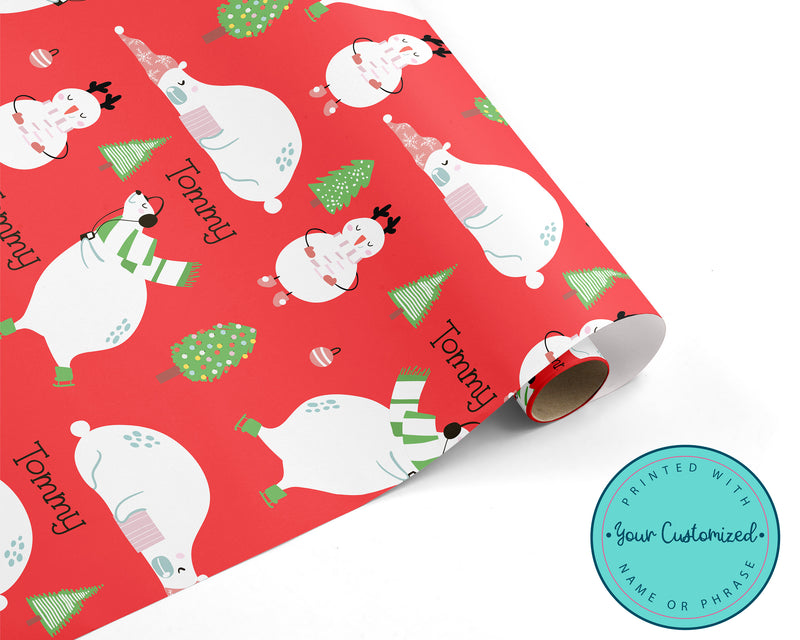 Personalized Snowman & Polar Bear Christmas Wrapping Paper