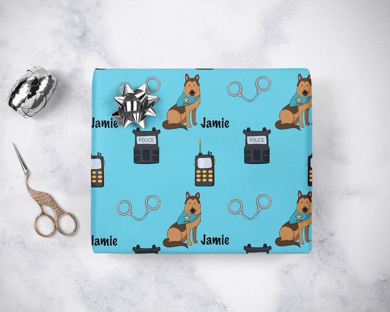 Personalized Police Birthday Wrapping Paper