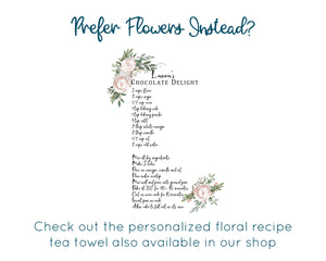 Personalized Illustrated Recipe Tea Towel