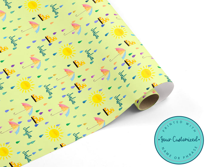 Personalized Rain Drops Baby or Bridal Shower Wrapping Paper