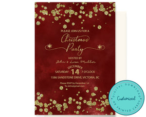 Gold Glitter Christmas Party Invitation