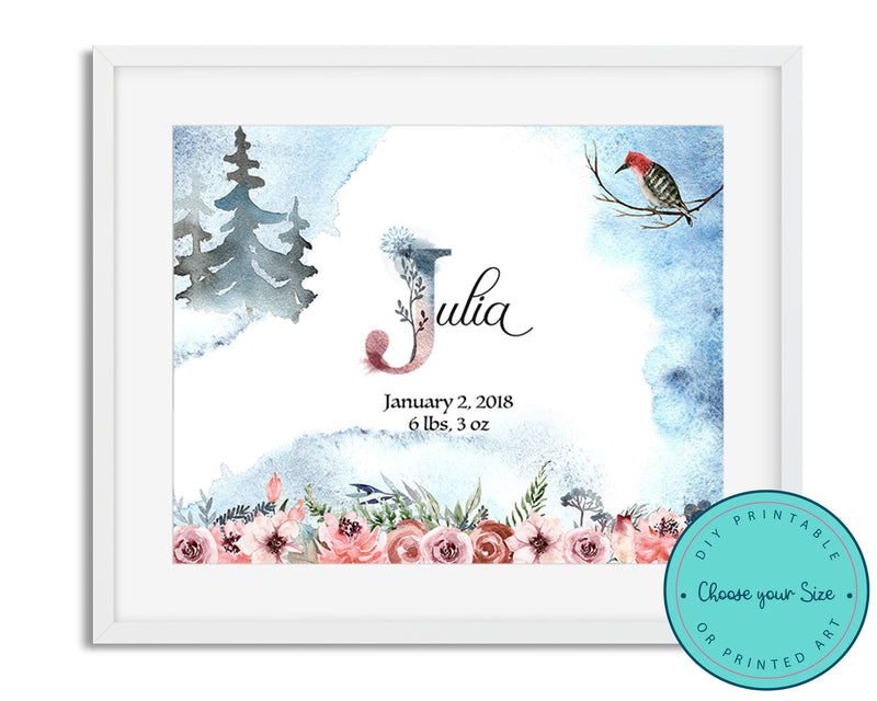 Woodland Rose Nursery Baby Name Sign with Birth Stats