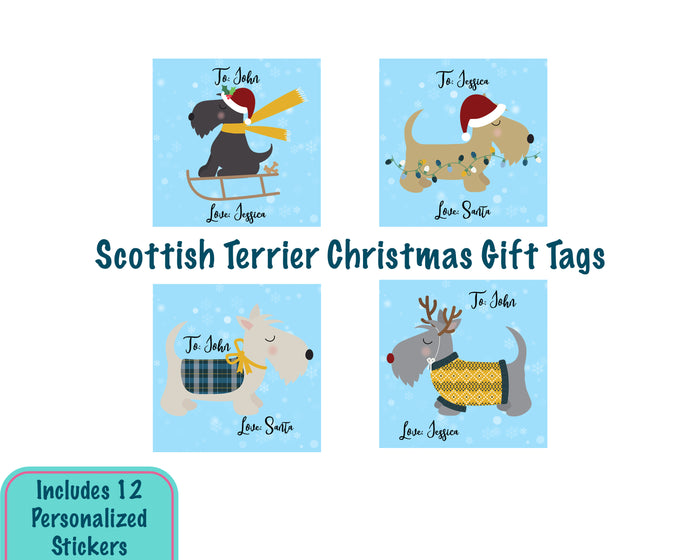 Personalized Scottie Dog Christmas Gift Tag Stickers