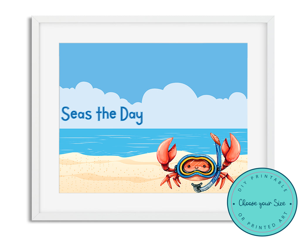 "Crab ""Seas the Day"" Beach Art"