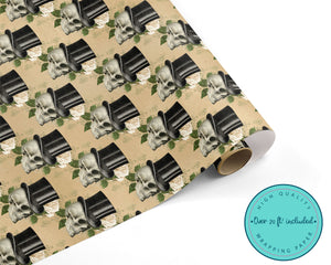 Steampunk Floral Skulls in Top Hats Wrapping Paper