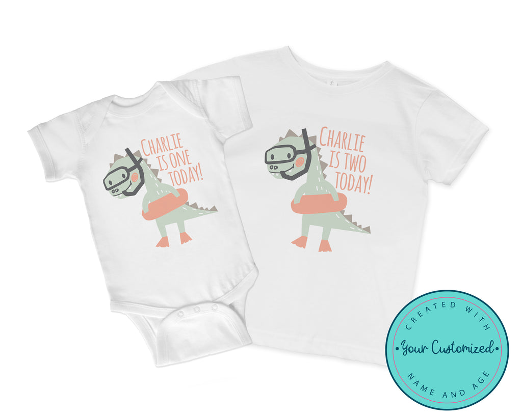 Personalized Snorkel Dinosaur Birthday Shirt