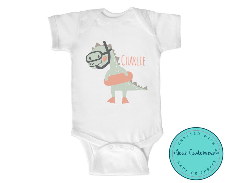 Personalized Summer Snorkel Dinosaur Baby One-Piece Bodysuit