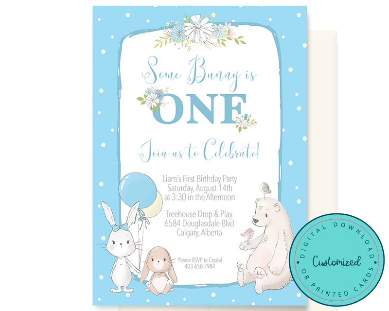 Blue Some Bunny is One Birthday Invitation