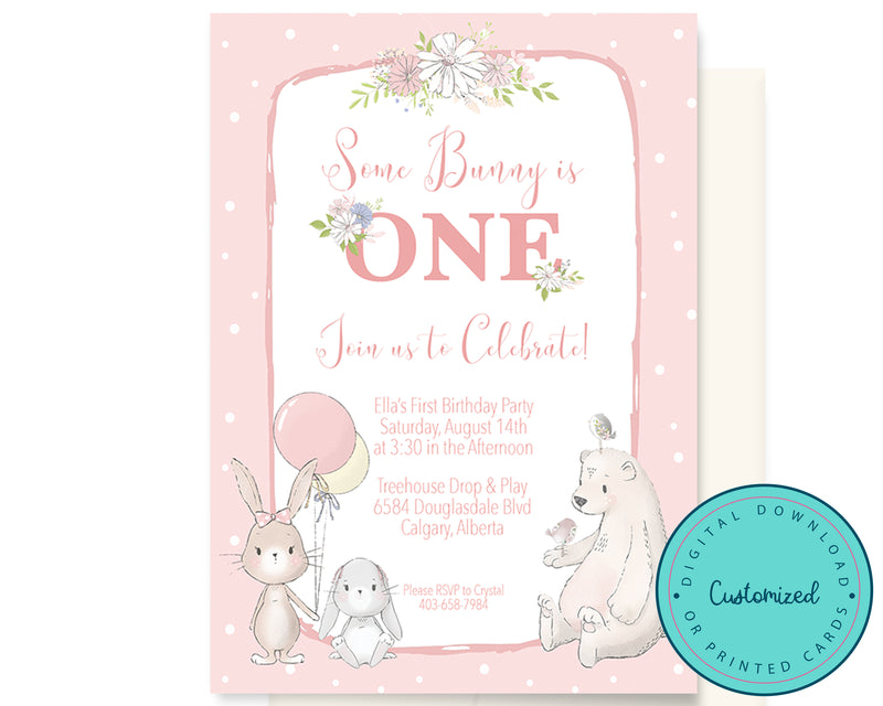 Some Bunny is One Birthday Invitation