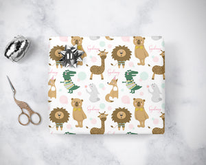 Personalized Sparkly Zoo Animals WRAPPING PAPER