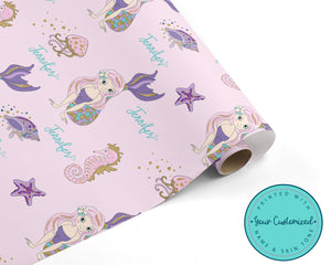 Personalized Sparkly Mermaid Wrapping Paper