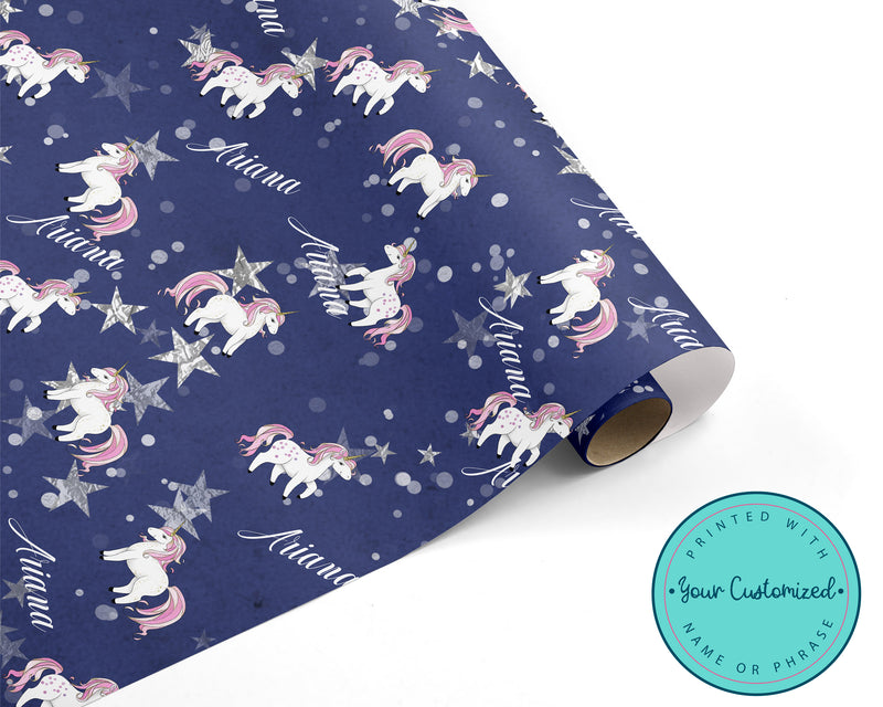 Personalized Sparkly Unicorn Wrapping Paper